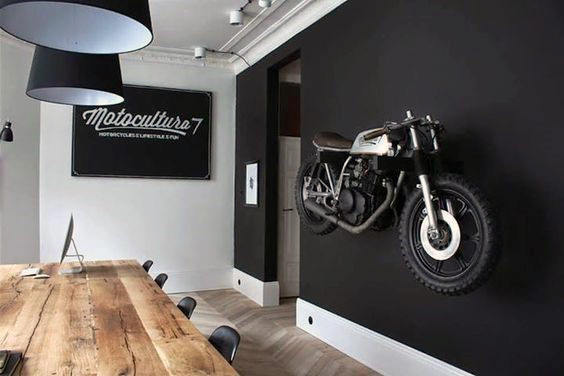 Decorations For Man Cave Black Painted Wall With Mounted Motorcycle
