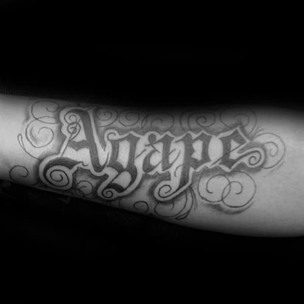 Decorative Agape Mens Inner Arm Tattoo Design Inspiration