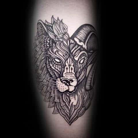Decorative Aries Mens Leg Calf Tattoos