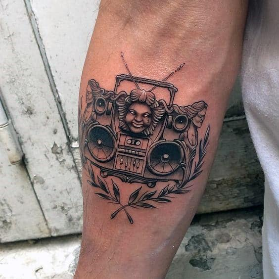 Decorative Boombox Mens Forearm Tattoo Designs