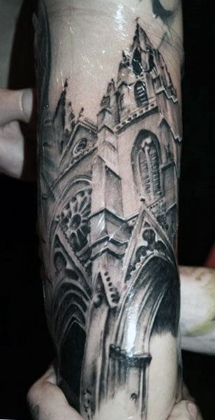Decorative Church Windows Male Building Forearm Tattoos