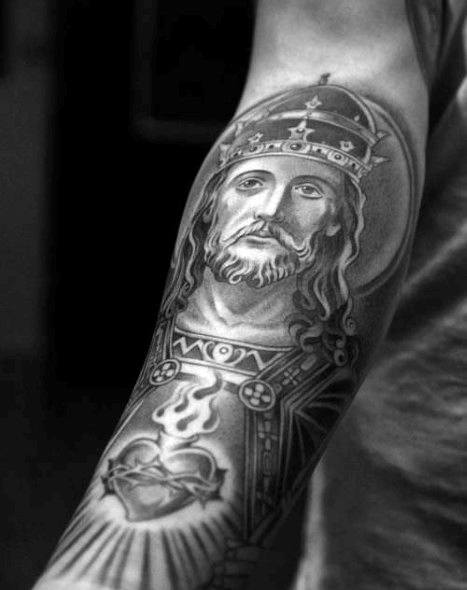 Decorative Detailed Guys Jesus Black And Grey Ink Forearm Tattoos