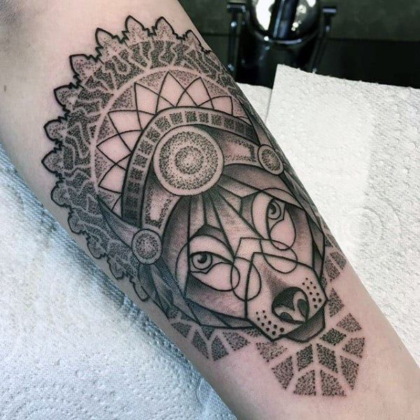 Decorative Dotwork Male Geometric Wolf Arm Tattoo Ideas