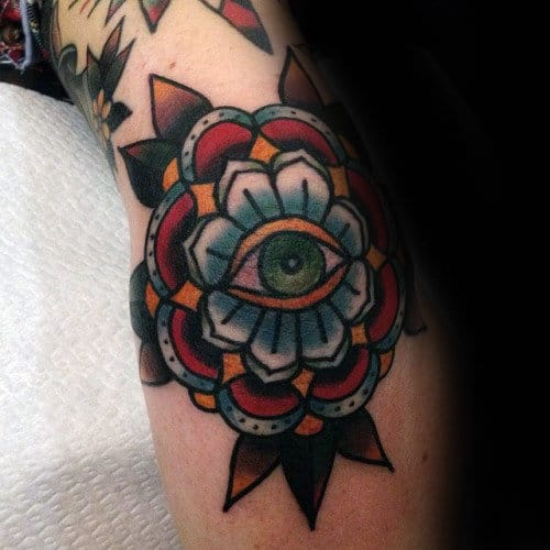 Decorative Flower Traditional Eye Mens Elbow Tattoo