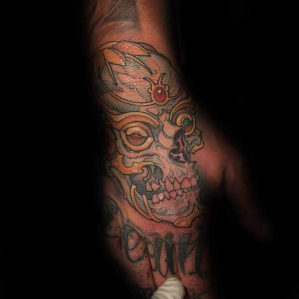 Decorative Guys Fancy Skull Hand Tattoo Design Ideas