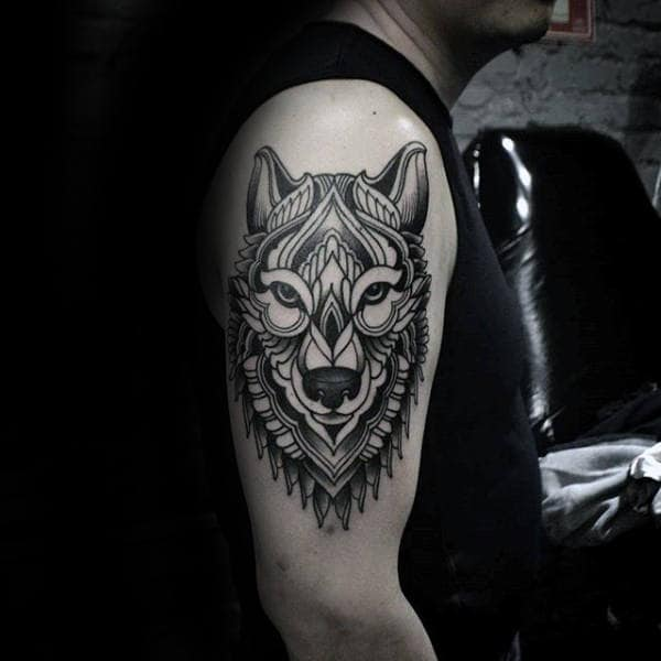 Decorative Guys Geometric Wolf Upper Arm Tattoo