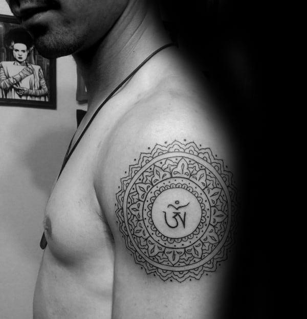 Decorative Guys Upper Arm Om Circle Tattoos