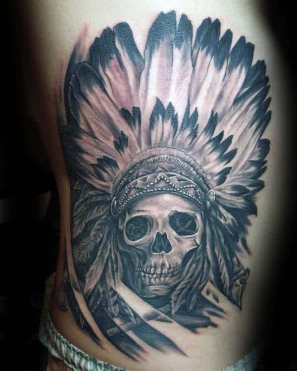 Decorative Indian Skull Rib Cage Tattoos For Guys