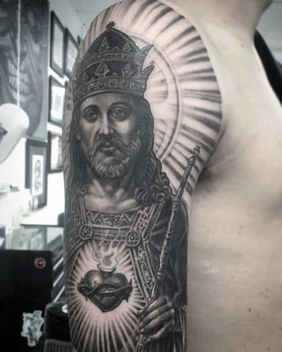 Decorative Jesus Arm Tattoo On Gentleman