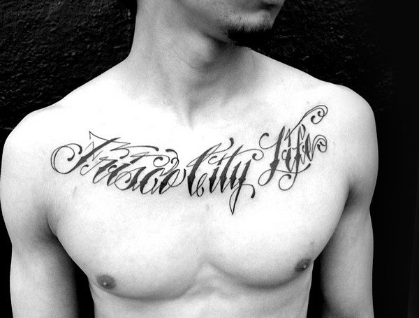 Decorative Lettering Collar Bone Tattoos For Gentlemen