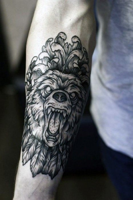 Decorative Lion Guys Forearm Tattoo Ideas