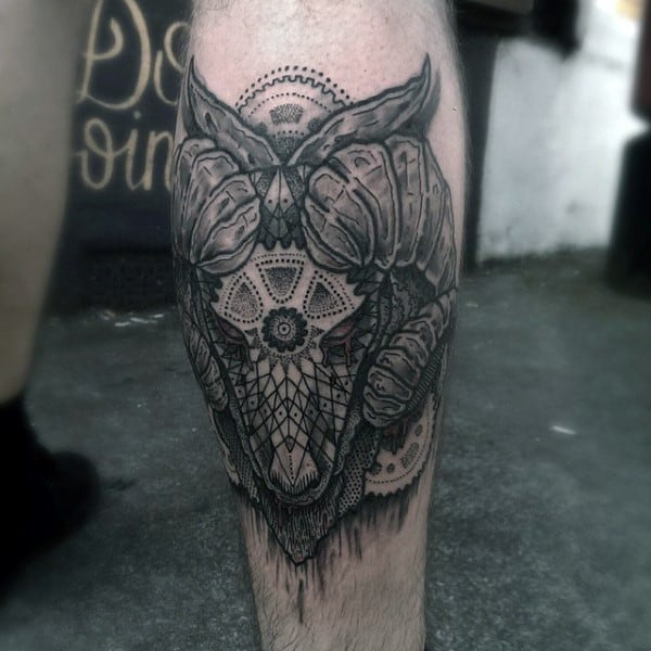 Decorative Mens Back Of Leg Calf Ram Tattoo Design Inspiration