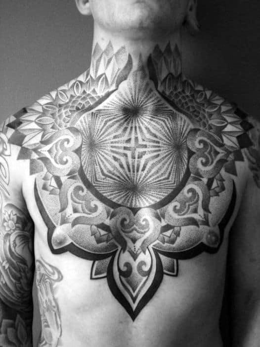 Decorative Mens Optical Illusion Chest Tattoo