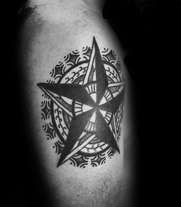 Decorative Nautical Star Guys Tattoo On Leg Calf