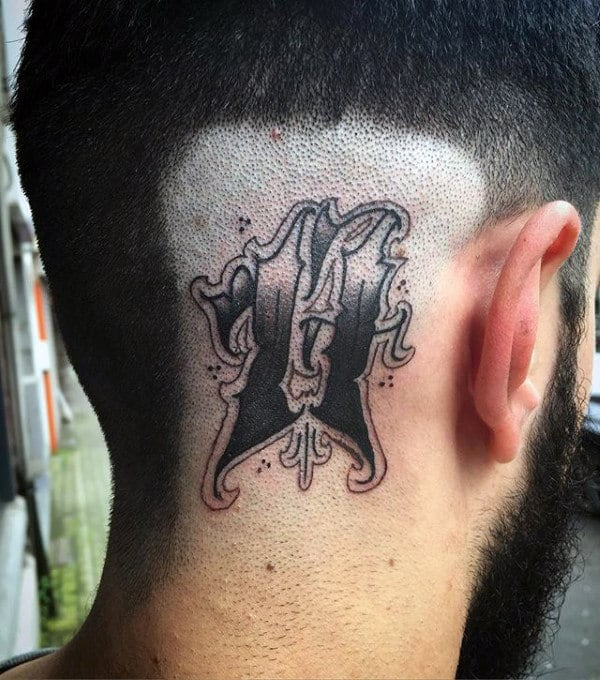 Decorative Number 11 Mens Back Of Head Tattoo Designs