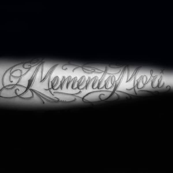 Decorative Ornate Font Memento Mori Male Word Outer Forearm Tattoos