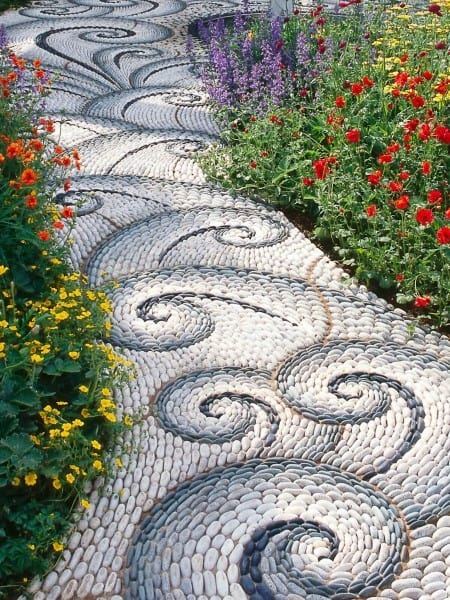 Decorative Pebble Pattern Walkway Ideas