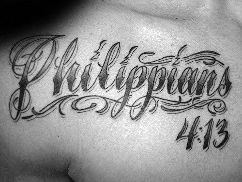 Decorative Philippians 4 13 Lettering Mens Upper Chest Tattoos
