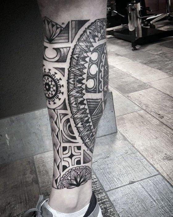 Decorative Polynesian Tribal Leg Tattoos For Men