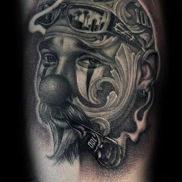 Decorative Portrait Of Man Chicano Guys Arm Tattoos