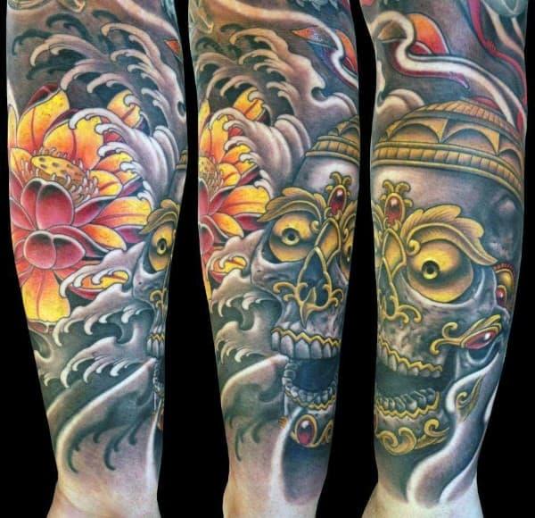 Decorative Skull Lotus Flower Mens Forearm Sleeve Tattoo