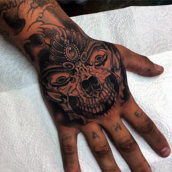 Decorative Skull Mens Hand Tattoo Design Ideas