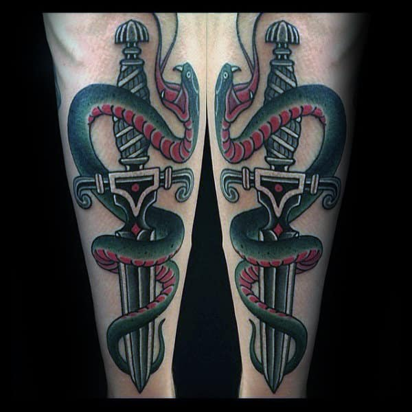 Decorative Sword With Snake Mens Traditional Outer Forearm Tattoo