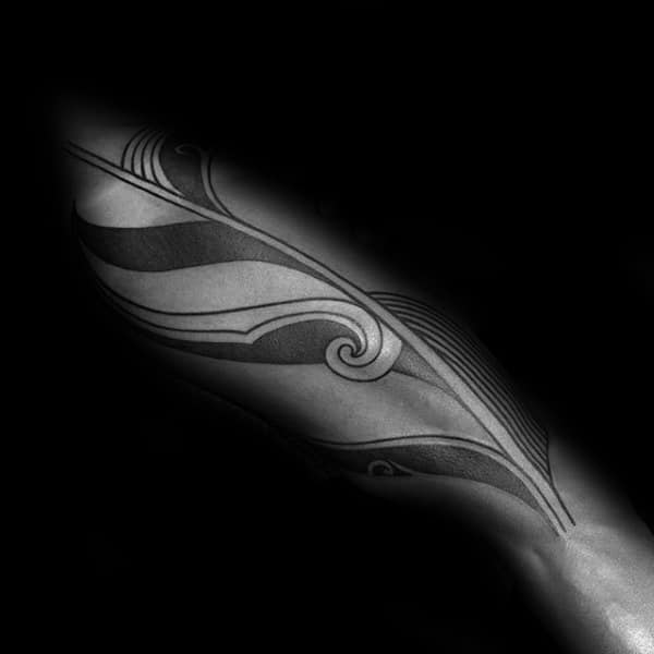 Decorative Tribal Guys Thigh Tattoo Inspiration