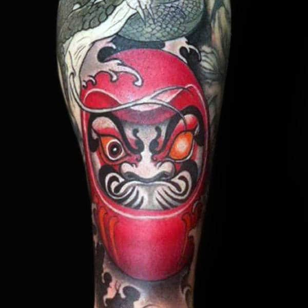 Deep Red Daruma Doll Sleeve Mens Tattoos