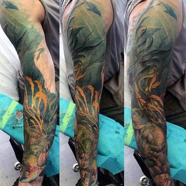 Deep Sea Guys Ocean Themed Sleeve Tattoo Inspiration