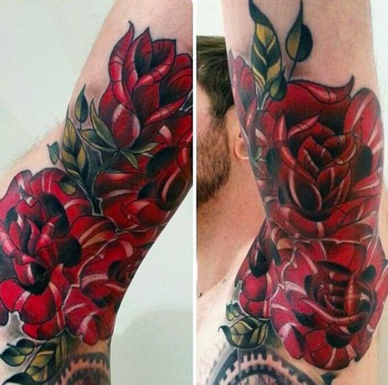 Deep Wine Red Floral Tattoo Men Armpit