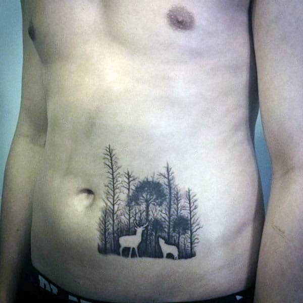 Deer And Wolf Silhouette Mens Lower Stomach Tattoo Ideas