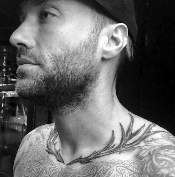 Deer Antler Collar Bone Male Tattoos