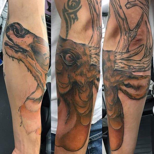 Deer Antler Lower Forearm Tattoo
