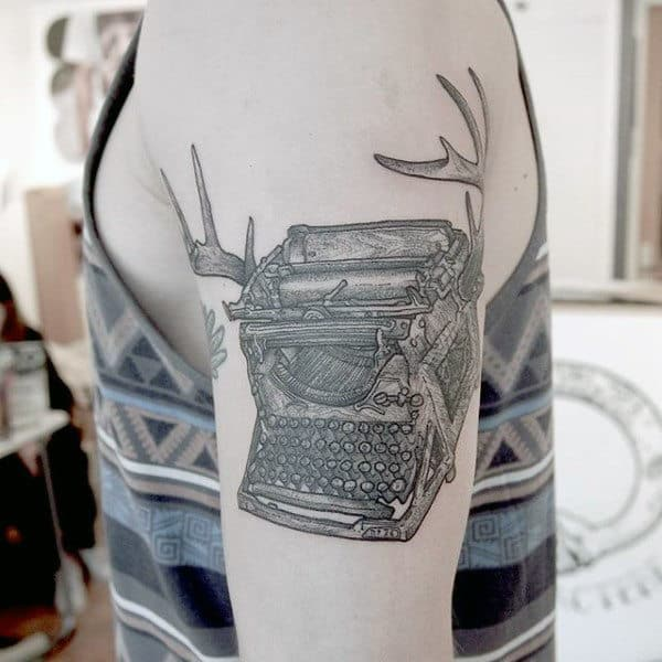 Deer Antler Typewriter Mens Arm Tattoo Ideas
