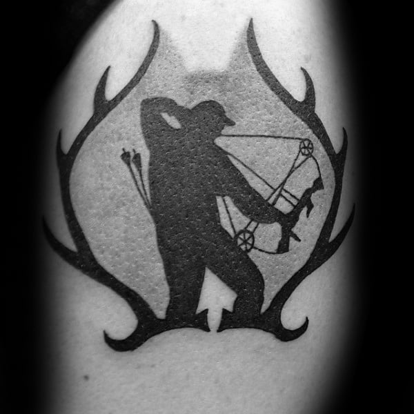Deer Antlers Bowhunting Mens Arm Tattoo