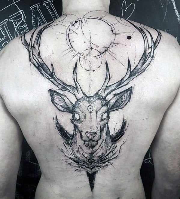 Deer Back Sketch Tattoo Designs For Guys