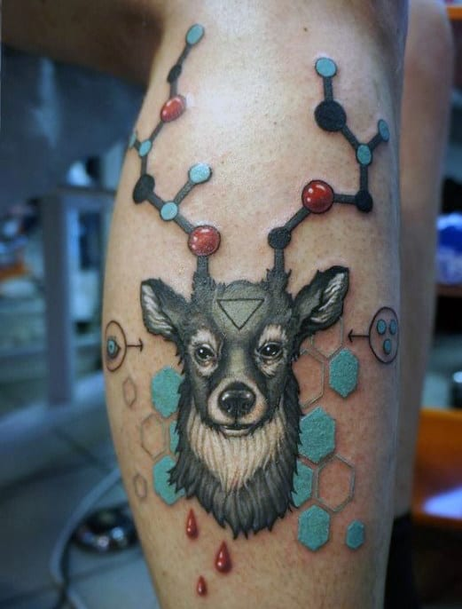 Deer Chemistry Abstract Male Leg Tattoos