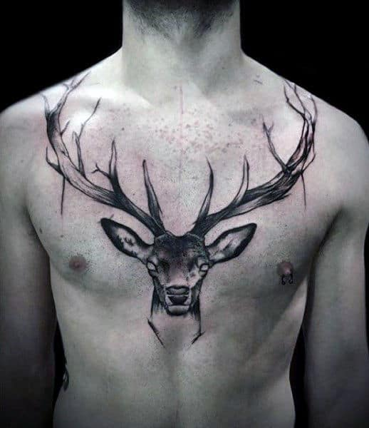 Deer Chest And Collar Bone Tattoo On Man With Watercolor Idea Inspiration