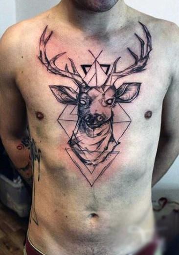 Deer Head Guys Tattoo Design On Chest