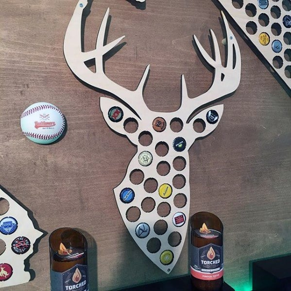 Deer Head With Circle Bottle Caps Art Diy Man Cave Ideas