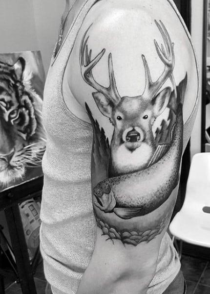 Deer Hunter Tattoo For Gentlemen On Arm