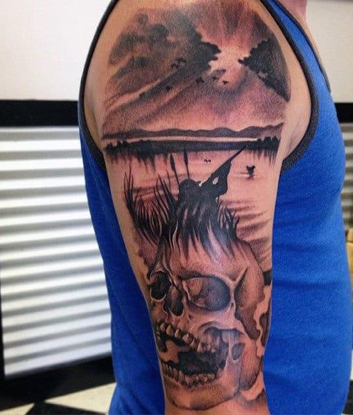Deer Hunter Tattoos On Man