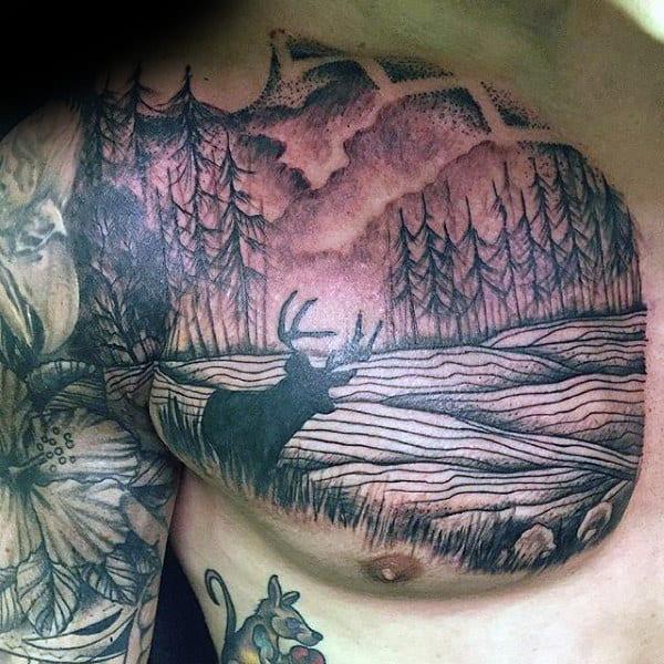 Deer In Forest Mens Upper Chest Landscape Tattoos