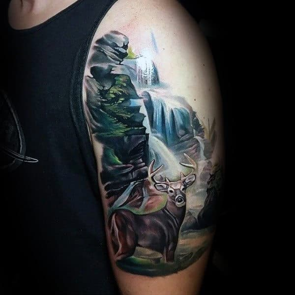 Deer In Forest Waterfall Upper Arm Tattoo For Males