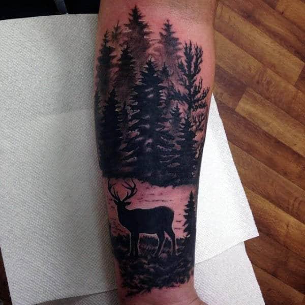 Deer In Woods Silhouette Mens Forearm Tattoos