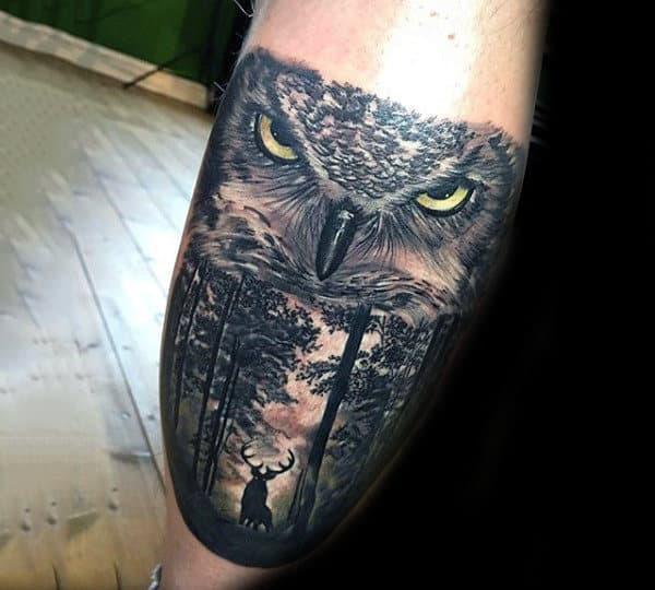 Deer In Woods With Realistic Owl Badass Mens Leg Calf Tattoo Ideas