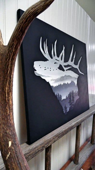 Deer Nature Landscape Bachelor Pad Wall Art Ideas