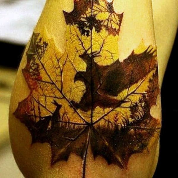 Deer Nature Leaf Tattoo Designs For Men