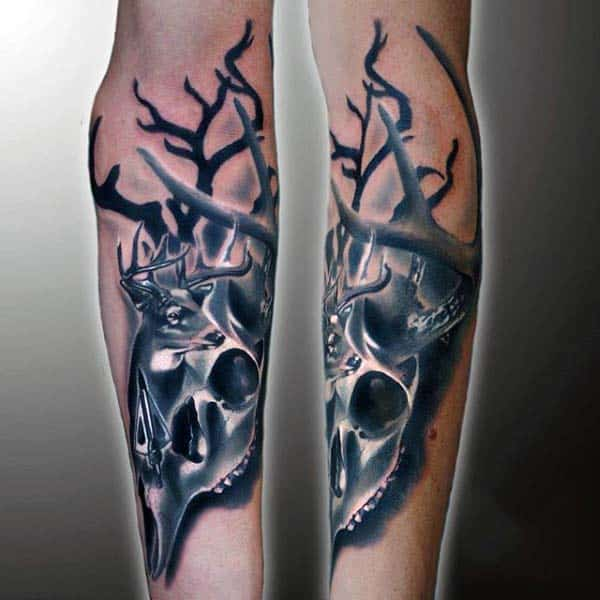 Deer Skull Shaded Archery Tattoo Designs For Males